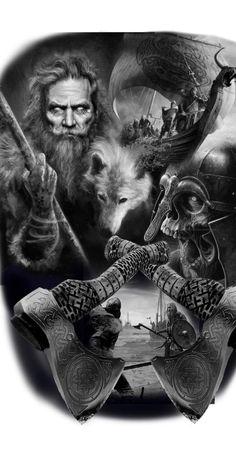 Viking Tattoo Sleeve, Norse Tattoo, Celtic Tattoos, Sleeve Tattoos, Scary Tattoos, Body Art Tattoos, Images Viking, Viking Warrior Tattoos, Spartan Tattoo