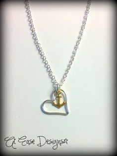 navy love necklace. anchor heart jewelry. by AtEaseDesigns on Etsy, $25.00