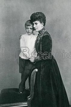 Portrait of Queen Alexandra of Denmark with Prince Olaf 1909 : her grandson by Queen Maud of Norway.