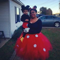 Diy Minnie and Mickey Mouse costume for mother and son. It came out looking pretty good. I'm very proud of myself  I made the skirt myself. just a simple full tutu with added white felt dots. the shoes were just yellow socks over our shoes