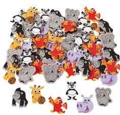 Zoo Animal Self-Adhesive Felt Shapes (100)  Our Zoo Animal Self-Adhesive Shapes are perfect additions to any kids' zoo, jungle or safari themed party or craft!  There are plenty of these cute critters to go around!  Felt. (approx 100 pcs)  1.9 cm -  3.81 cm