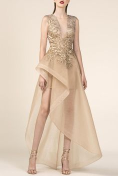 Saiid Kobeisy - Sheer Gold Brocade A-Line High Low Gown Hi Low Dresses, Formal Dresses, Wedding Dresses, Saiid Kobeisy, High Low Gown, Nude Dress, Nude Gowns, A Line Gown, Homecoming Dresses