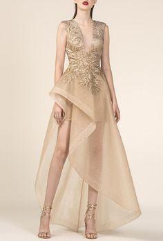 Saiid Kobeisy - Sheer Gold Brocade A-Line High Low Gown Hi Low Dresses, Prom Dresses, Wedding Dresses, Saiid Kobeisy, High Low Gown, Nude Dress, Nude Gowns, A Line Gown, Designer Dresses