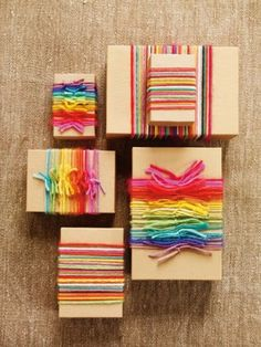 Cool gift wrapping idea with brown paper and yarn.