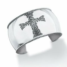 STARHAVEN Etched Gothic Cross Cuff STARHAVEN by Liz Donahue. $750.00