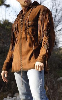 Men's Hand-Made Western Suede Leather Shirt Description Genuine Suede Leather High Quality Suede Leather Long Fringes Inside Silk Lining Fine Premium Stitching Inner Pocket Fringe Shirt, Fringe Leather Jacket, Suede Jacket, Leather Jackets, Lambskin Leather, Suede Leather, Leather Men, Brown Suede, Brown Leather