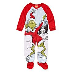 Girls Microfleece One Piece Pajama Grinch Long Sleeve Round Neck - JCPenney 81d77c7e8