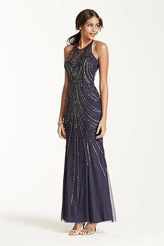 Open Back All Over Sequin Beaded Dress 50651D