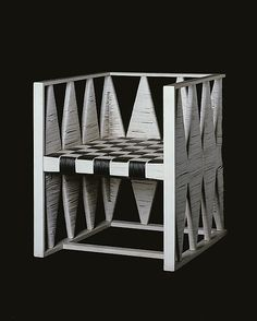 Josef Hoffmann; Lacquered Wood and Cane Chair for Wiener Werkstatte, 1903.