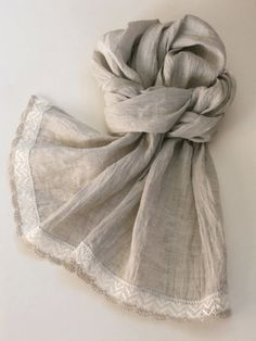 Long linen scarf natural light gray lightweight scarf with linen lace bridal shawl in shabby chic style