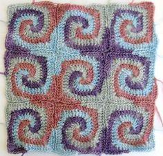 spiral granny squares - CROCHET