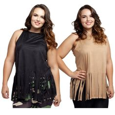 "Plus size stretch faux suede top with fringe NWT. Black or Tan. Ultra soft and stretchy faux suede with a fashionable fringed hemline. Features a relaxed, comfortable fit. Pair it with your favorite jeans or leggings for an effortlessly chic look.   Made in USA.   SIZE GUIDE:  1X: 14-16W, 34-37"" waist, 43-47"" hip, 41-44"" Bust.  2X: 18-20W, 38-41"" waist, 47-50"" hip, 45-48"" Bust.  3X: 22-24W, 42-45"" waist, 50-54"" hip, 49-52"" Bust.   88% Polyester, 12% Spandex Tops"