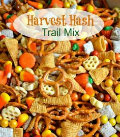 Hash - Halloween Trail Mix Delicious Harvest Hash Recipe - perfect for a Fall Snack, Halloween party, or gift for a neighbor.Delicious Harvest Hash Recipe - perfect for a Fall Snack, Halloween party, or gift for a neighbor. Postres Halloween, Halloween Desserts, Halloween Goodies, Halloween Food For Party, Halloween Birthday, Halloween Halloween, Halloween Trail Mix Recipe, Halloween Appetizers, Fall Appetizers