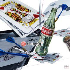 트럼프카드, 카드,다트, 코카콜라, 병