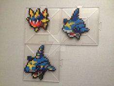 #318-#319 Carvanha Family Perlers by TehMorrison