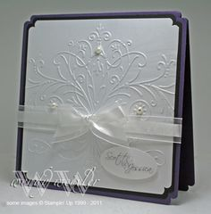 Lovely wedding card **** another must have embossing folder... Emily's Bouquet Embossing Folder. Card by: http://wickedlywonderfulcreations.blogspot.com/search/label/Weddings#