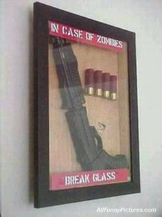 In case of Zombies, break glass shadowbox - awesome dude gift.