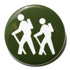 Hiker Symbol  Pinback Button Badge 1 1/2 inch by theangryrobot, $1.50
