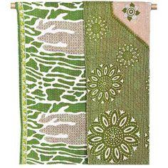 Kantha Quilted Recycled Sari Throw - Gator Green