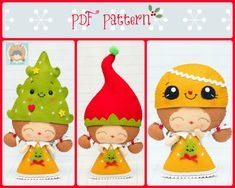 PDF Pattern. Elf girl with Christmas hats: Elf hat, Christmas tree hat and gingerbread hat