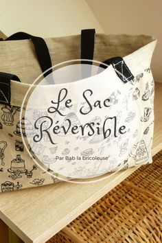 Le Sac Réversible en h Chrono. Beginner Sewing Patterns, Sewing Projects For Beginners, Sewing Tutorials, Sewing Hacks, Sewing Tips, Couture Sewing, Coin Couture, Diy Bags, Paper Shopping Bag