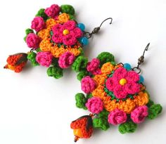 Your place to buy and sell all things handmade Bead Embroidery Tutorial, Crochet Flower Tutorial, Crochet Flowers, Beaded Embroidery, Funky Earrings, Earrings Handmade, Hand Embroidery Flowers, Crochet Accessories, Crochet Earrings