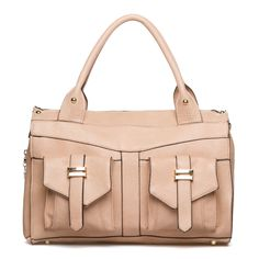 i like this bag because the color is perfect to neutralize any outfit i wear and the pockets on the front can make it easier to access something. plus the pockets are a cute addition to the bag.