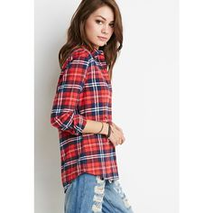 Forever 21 Classic Plaid Flannel Shirt ($20) ❤ liked on Polyvore featuring tops, tartan shirt, plaid top, flannel tops, plaid shirt and shirts & tops