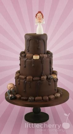 Drippy Chocolate Wedding Cake - Cake by Little Cherry