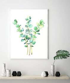 Watercolor Prints Eucalyptus Print of Watercolor Painting Green Leaf Print Leaf Wall Decor Botanical Print Makes Minimalist Art for Office Watercolor Leaves, Watercolor Print, Watercolor Paintings, Leaf Prints, Wall Art Prints, Minimalist Art, Botanical Prints, Fine Art Paper, Wall Decor