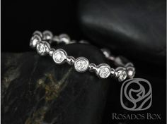 Rosados Box CONFLICT FREE Macy 14kt White Gold Round Bezel and Dot Diamonds ALMOST Eternity Band