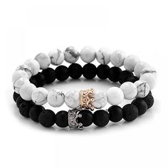 "Universe of goods - Buy ""Trendy Black White Stone Beads with Gold Silver Color Alloy Crown Bracelet For Women Men Couple Bangles Jewelry"" for only USD. Bracelets Fins, Bracelets Design, Couple Bracelets, Summer Bracelets, Bracelets For Men, Fashion Bracelets, Jewelry Bracelets, Fashion Jewelry, Men's Jewellery"
