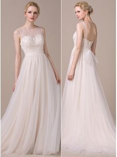 A-Line/Princess Scoop Neck Court Train Appliques Lace Bow(s) Zipper Up Regular Straps Sleeveless General Plus No Spring Summer Fall Other Colors Tulle Wedding Dress