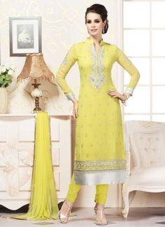 Classy Lemon Yellow Georgette Embroidery Work Churidar Suit http://www.angelnx.com/Salwar-Kameez/Churidar-Suits