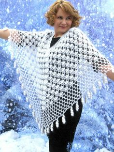 Crochet Prayer Shawls, Crochet Shawls And Wraps, Crochet Scarves, Tunisian Crochet, Crochet Stitches, Knit Crochet, Knitted Baby Clothes, Crochet Clothes, Knitting Patterns
