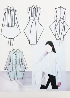Fashion Sketchbook - fashion design development, white shirt dress sketches, fashion drawings // Marie Ly