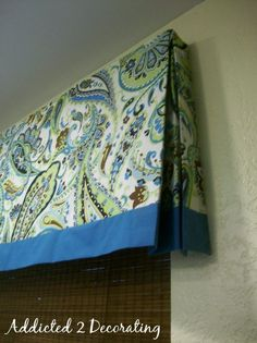 lined valance with contrasting fabric band - real instructions for mounting fabric on board using velcro and attaching board using L brackets Window Valance Box, Box Pleat Valance, Window Coverings, Window Treatments, Valance Curtains, Valance Ideas, Valances, Window Pelmets, Pelmet Box