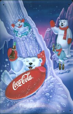 Coca-Cola fl oz Cans - Coca Cola - Ideas of Coca Cola - Ideas of Coca Cola - Coca Cola Poster, Coca Cola Santa, Coca Cola Polar Bear, Coca Cola Christmas, Christmas Art, Xmas, Coca Cola History, World Of Coca Cola, Coca Cola Pictures