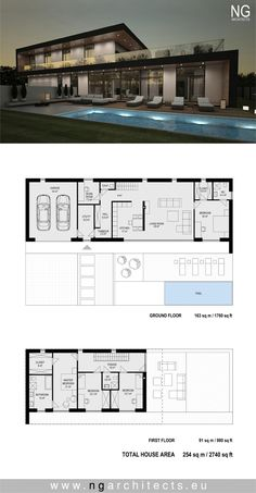 Modern House Floor Plans, Contemporary House Plans, Dream House Plans, Modern Architecture House, Architecture Plan, Modern Villa Design, Villa Plan, Modern Mansion, House Blueprints