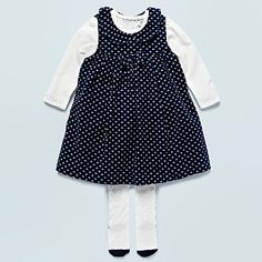 Baby's navy floral corduroy dress, white top and tights - Dresses & skirts outfits - Outfits - Kids -