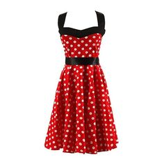 Audrey Hepburn Inspired Dress Red Polka Dot Printed Retro 50S... ($49) ❤ liked on Polyvore featuring dresses, night out dresses, red polka dot dress, halter neck dress, cotton dress and red party dresses