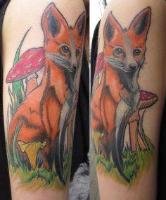 # fox tattoo # color tattoo # BLACKSTARSTUDIO Fox Tattoos, Animal Species, Color Tattoo, Tatting, Ink, Cool Stuff, Awesome, Tatoo, Bobbin Lace