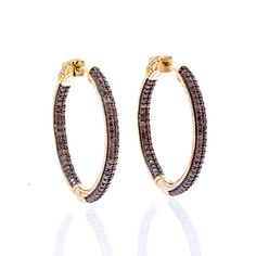 ZDE5031  STERLING SILVER 925 CHOCOLATE COLOR CZ HOOPS