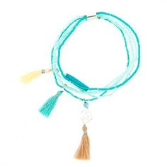 Fine turquoise multi row bracelet Nina Des Criquets – Trend-On-Line French Brands, Fashion Essentials, Bohemian Style, The Row, Tassel Necklace, Trendy Fashion, Fashion Accessories, Turquoise, Bracelets