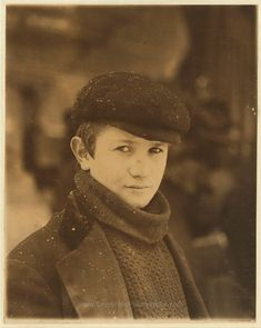 Newsboy head. Location: Utica, New York (State). Date Created/Published: 1910 February. Lewis Hine.