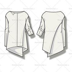 Фиолетовый шаблон для женской асимметричной драпированной блузки
