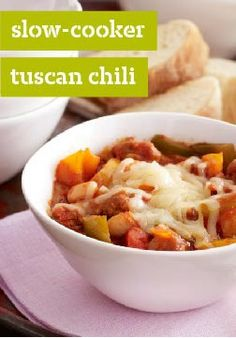 Slow-cooker Tuscan Chili – This Tuscan-style chili can be started on the stovetop and finished in the slow cooker or cooked on the stovetop from start to finish in under an hour.