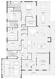 Floor Plan Friday: Master suite at the rear - DIY Traumhaus 4 Bedroom House Plans, Basement House Plans, Family House Plans, Ranch House Plans, Craftsman House Plans, Best House Plans, Dream House Plans, House Floor Plans, Dream Houses