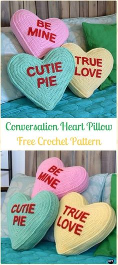 Crochet Conversation Heart Pillow Amigurumi Free Pattern- Amigurumi Crochet 3D Heart Free Patterns