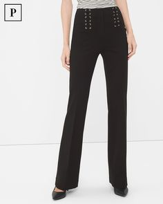 """If you dare to flare, allow us to introduce you to our newest take on the silhouette. Our black flare pants get a nautical update with lace-front detail. Comfortable stretch, easy-care design and slimming seams add to the flair of these flares.   Black lace-up waist flare pants Classic rise; sits below waist Zip-fly with hidden double hook-and-bar closure and inside button  Lace-front detail; back welt pockets Regular: Approx. inseams: 26 ½"""" short, 29"""" regular, 31"""" long Petite: Approx…"""